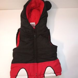 Mickey mouse red and black vest with mouse on hood